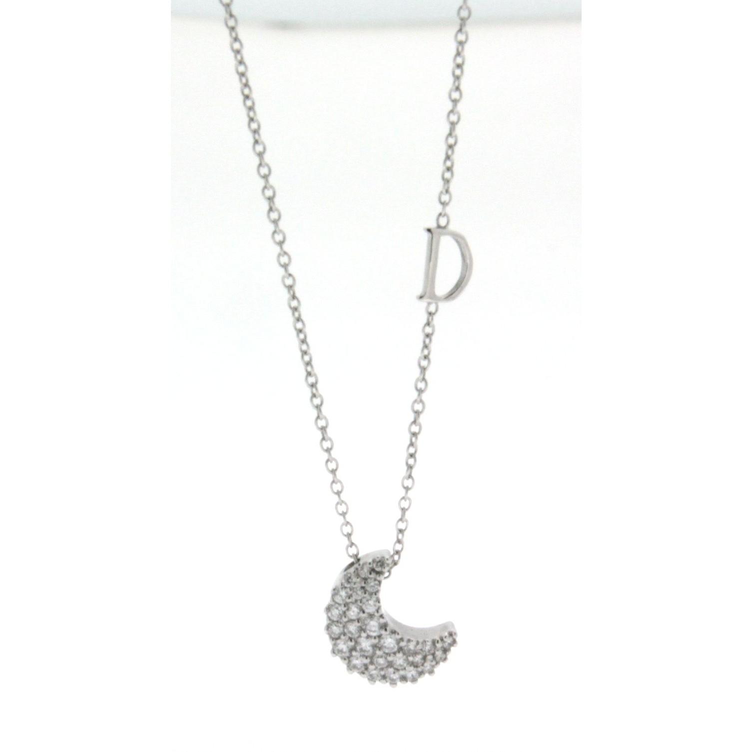 negozio online fe5b0 a66cc Girocollo Damiani con ciondolo a luna con pavé di diamanti