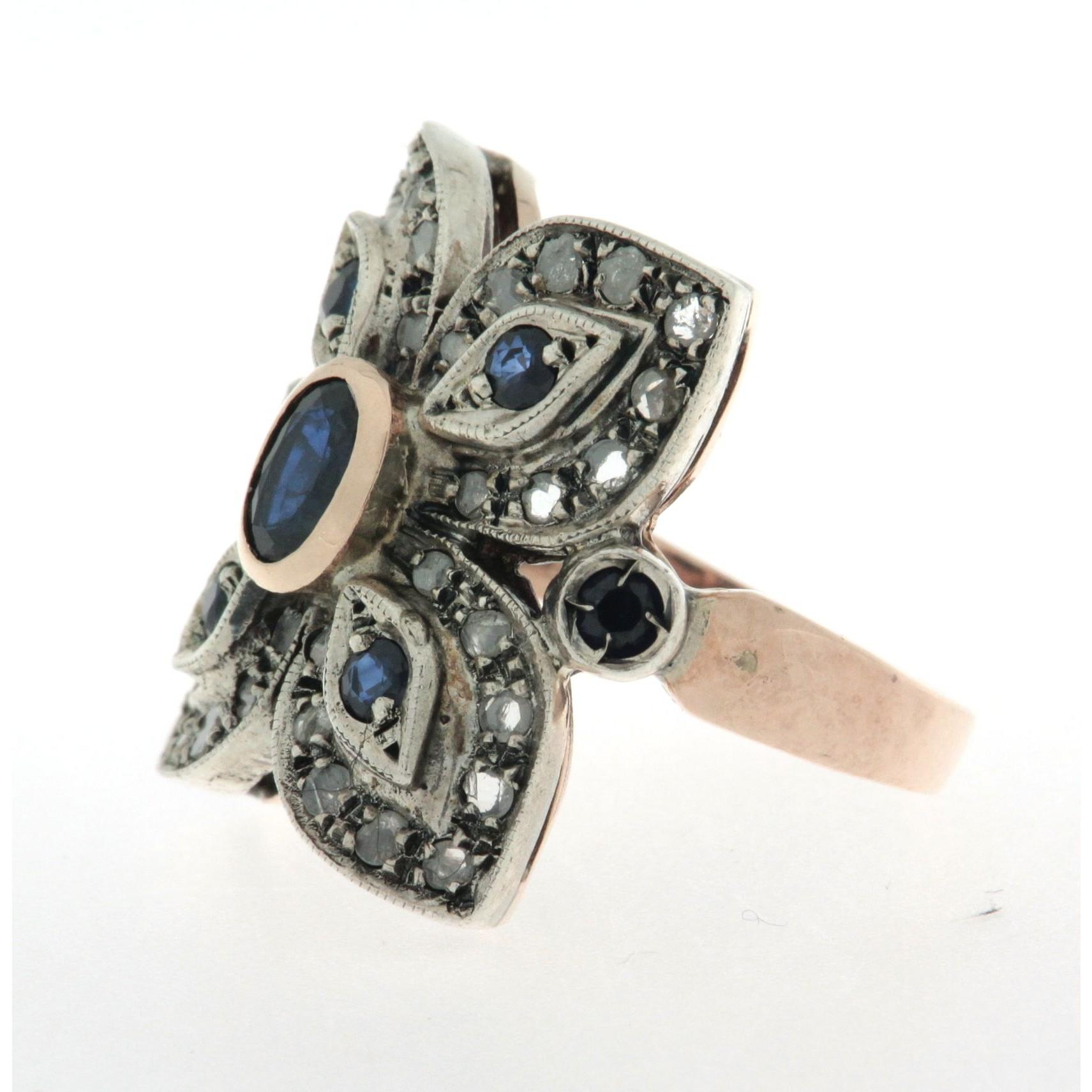 selezione migliore 8ca14 6a89c Anello in oro 14 kt e argento, in stile Liberty, con zaffiri naturali e  diamanti