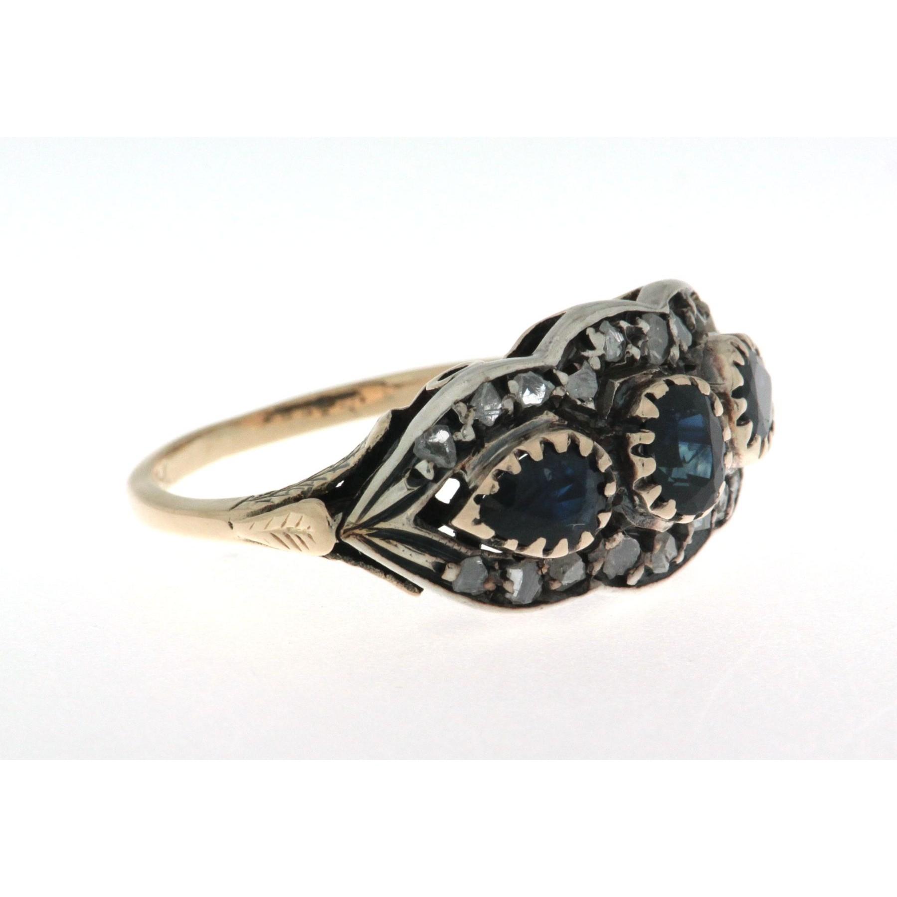 nuovo di zecca eddf0 4bc6c Anello in oro 18 kt e argento, in stile antico, con zaffiri e diamanti