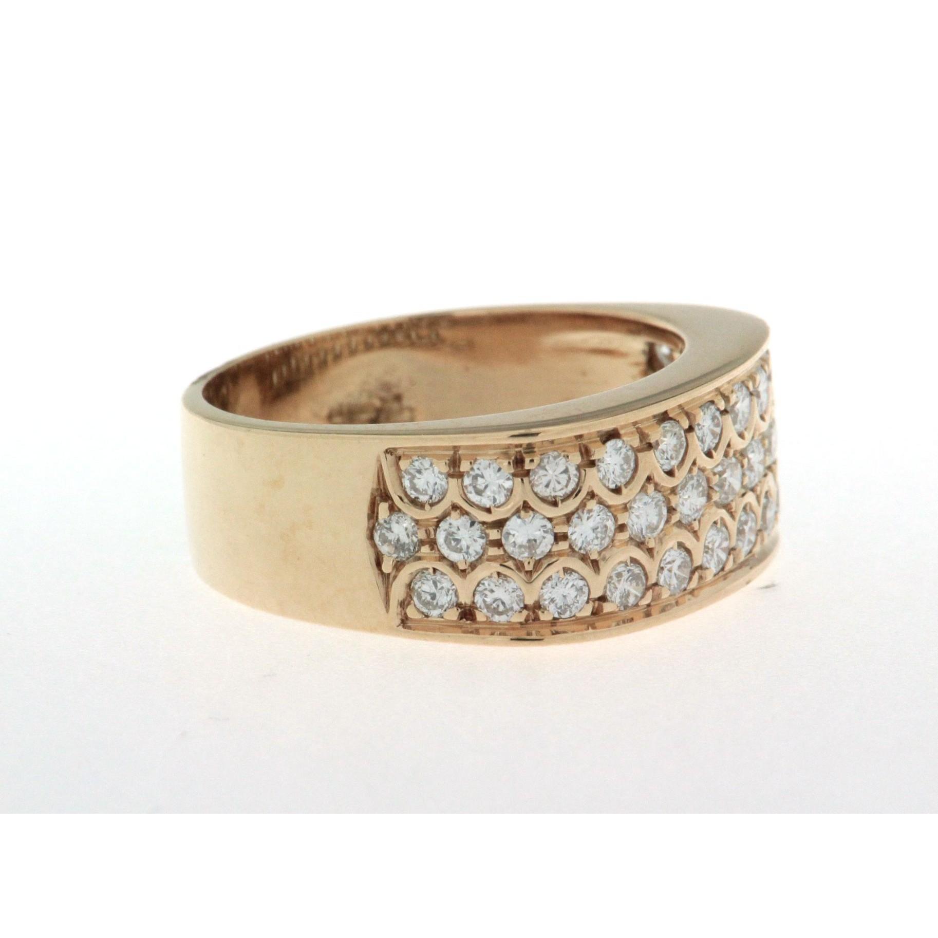 Conosciuto Anello a fascia in oro giallo 18 kt, nuovo, con pavè di diamanti US78