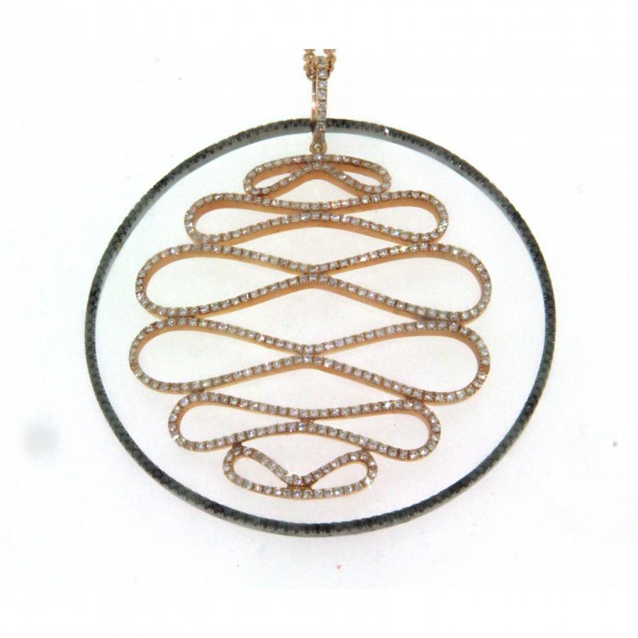 Girocollo in oro rosa 18 kt, con ciondolo con diamanti bianchi e neri