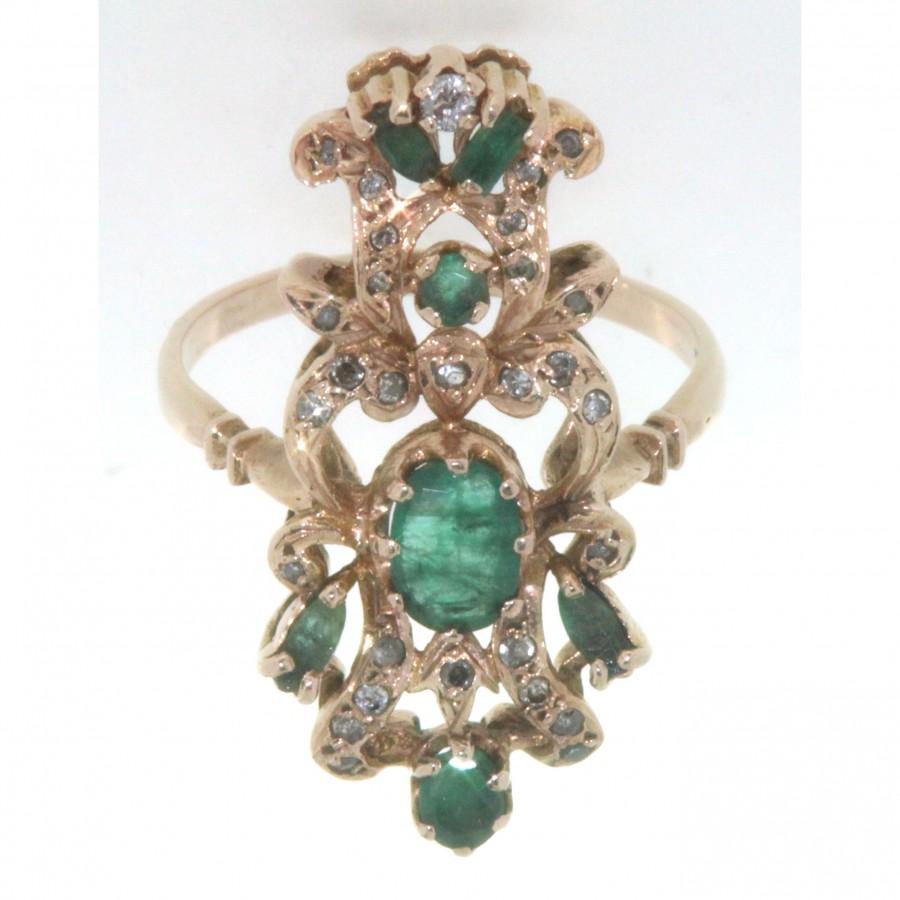 Anello D'epoca  in oro giallo 12 kt in stile antico con smeraldi e diamanti