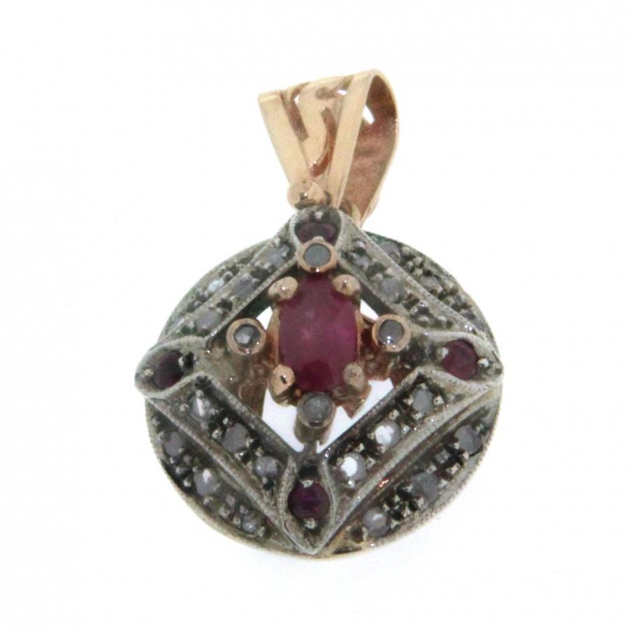 Ciondolo D'epoca in oro rosa 14 kt e argento in stile antico con rubini e diamanti   (106)
