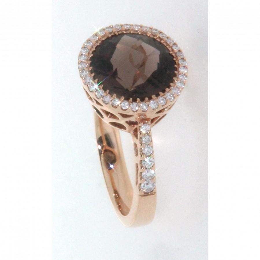 Anello in oro rosa 18 kt, con quarzo e diamanti