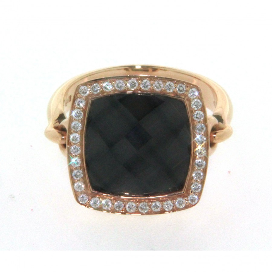 Anello in oro rosa 18 kt fluorite sfaccettata diamanti e gambo snodato