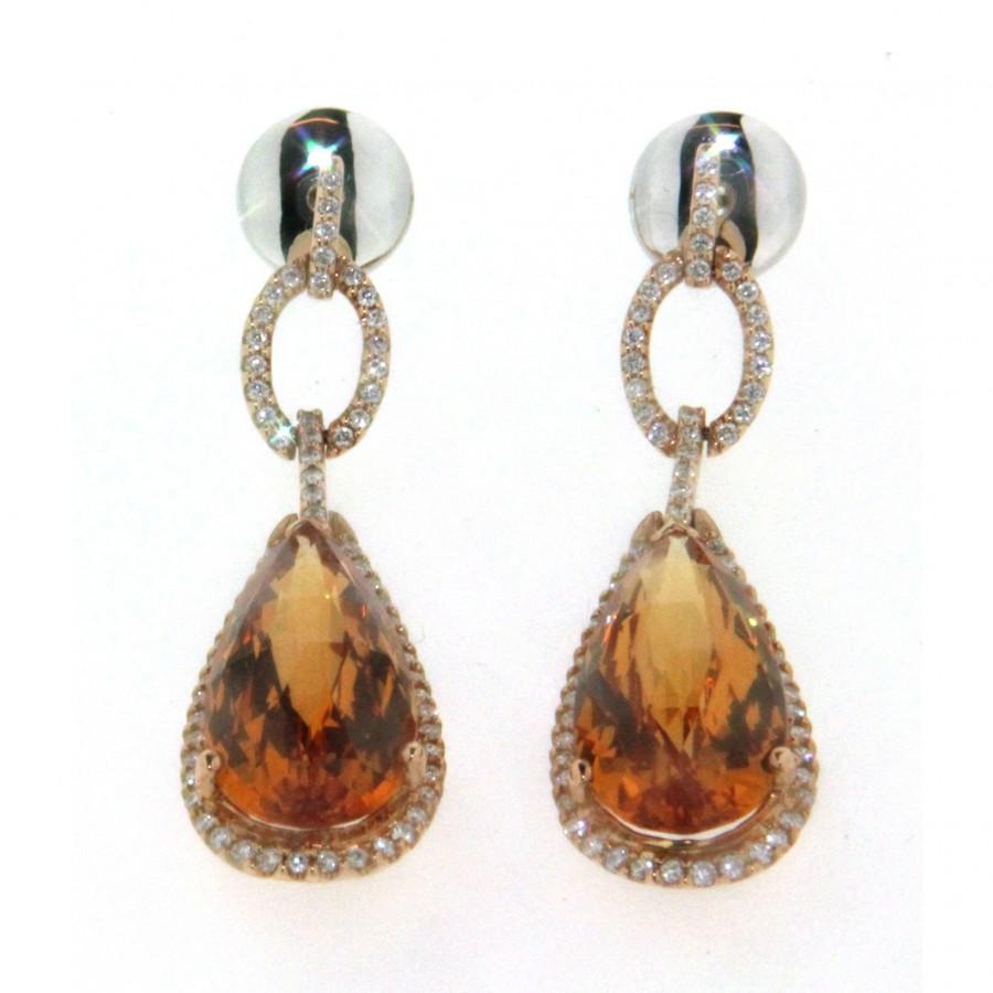 Paio di orecchini in oro giallo 18 kt, con citrino e diamanti