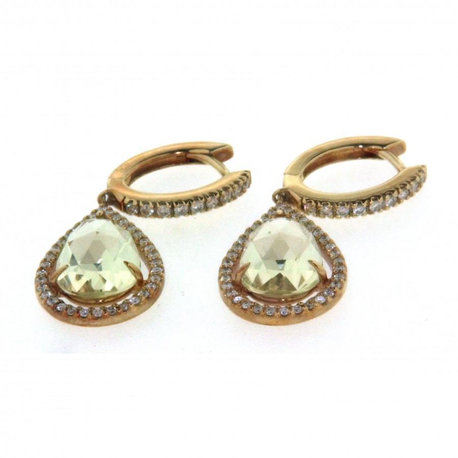 Paio di orecchini in oro giallo 18 kt, con quarzo e diamanti