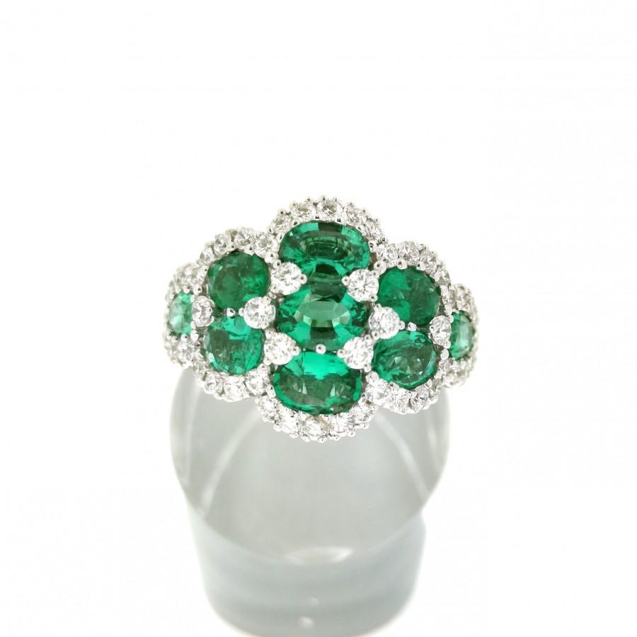 Anello MONTEREY di Salvini, in oro bianco 18 Kt diamanti smeraldi