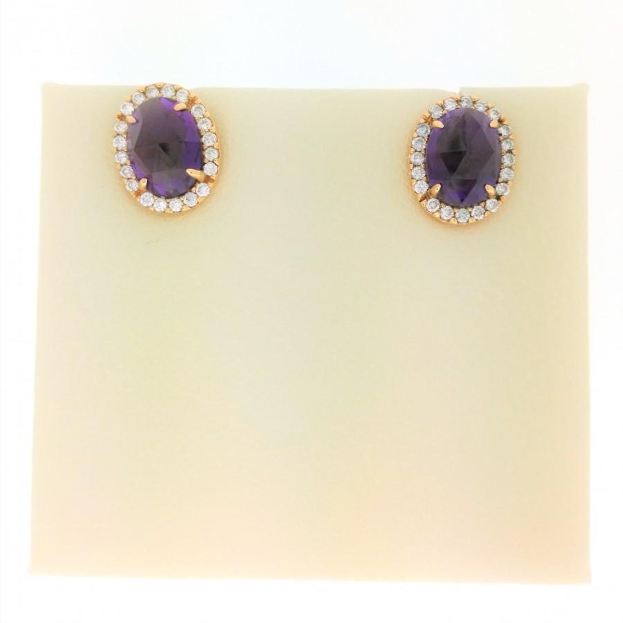 Orecchini in oro giallo 18 Kt con diamanti 0,28 ct e ametista 2,20 ct