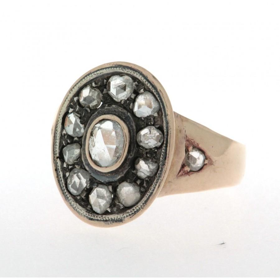 Anello in oro 18 kt e argento, originale degli anni '30/'40, con diamanti