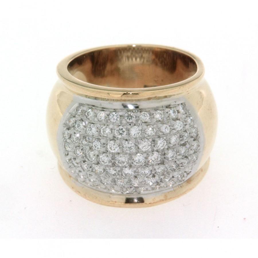 Anello a fascia, in oro giallo 18 kt, nuovo, con pavè di diamanti