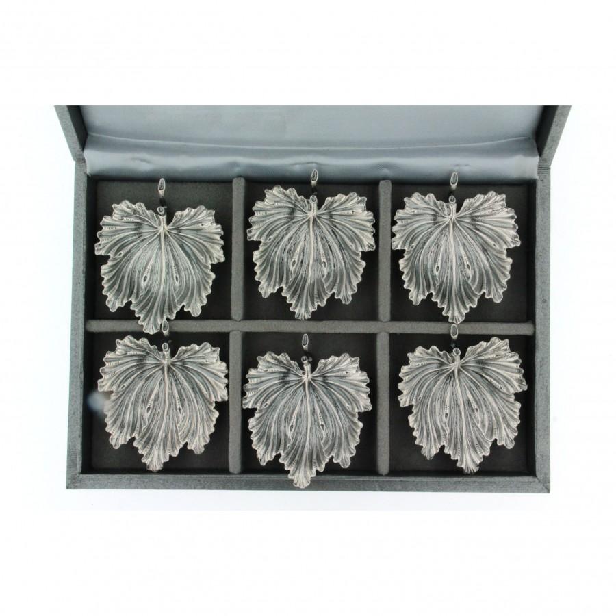 Buccellati sei segnaposto micro foglie di fico