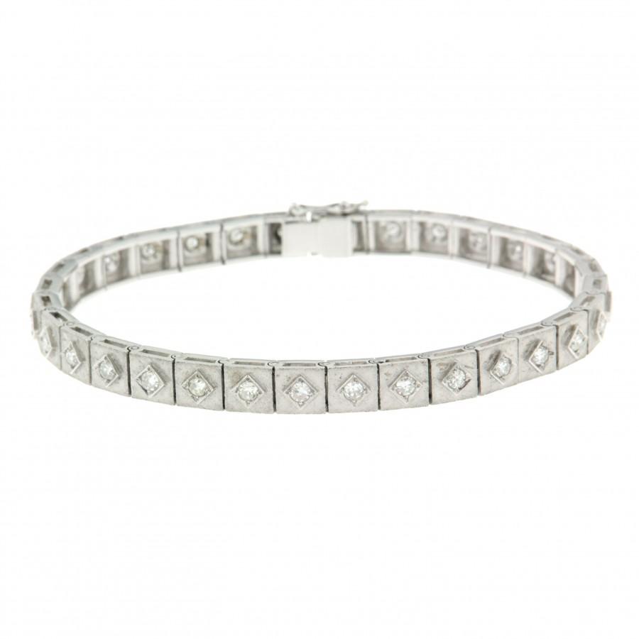 Bracciale  d'epoca in oro bianco18 kt e diamanti taglio huit huit anni 50