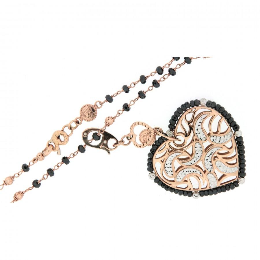 Collana più ciondolo in oro rosa e bianco 18 kt firmata Sunday manifattura vicentina con spinelli neri natural