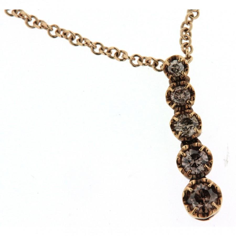 Girocollo linea Ice Diamond in oro rosa con diamanti funcy brown