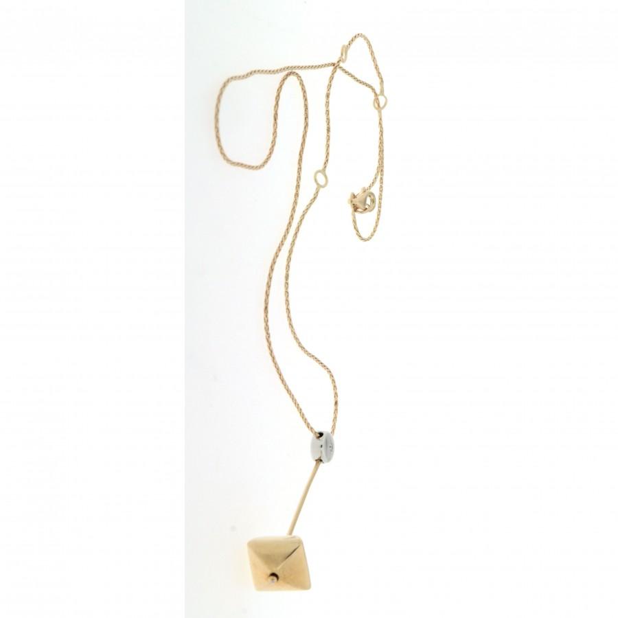 Collana Chimento in oro giallo e bianco 18 kt con diamante usata