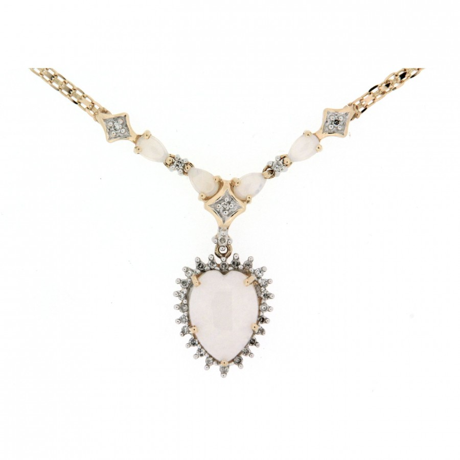 Girocollo D'epoca in oro 14 kt anni 70 con centrale pendente con opali e diamanti