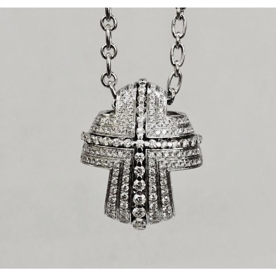 Girocollo oro bianco con croce usato,18 Kt. grammi 24,42 brillanti G/VS kt. 1,51 Recarlo ZT 399/B