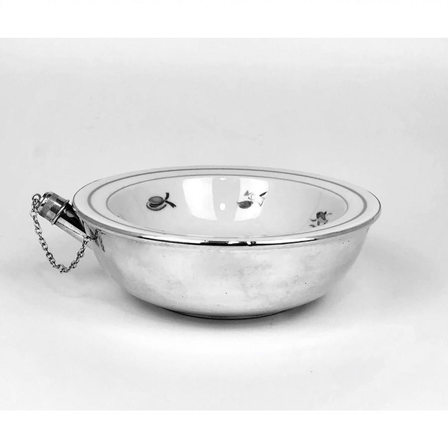 Piatto bimbo scalda vivanda, argento '800 e porcellana, usato.