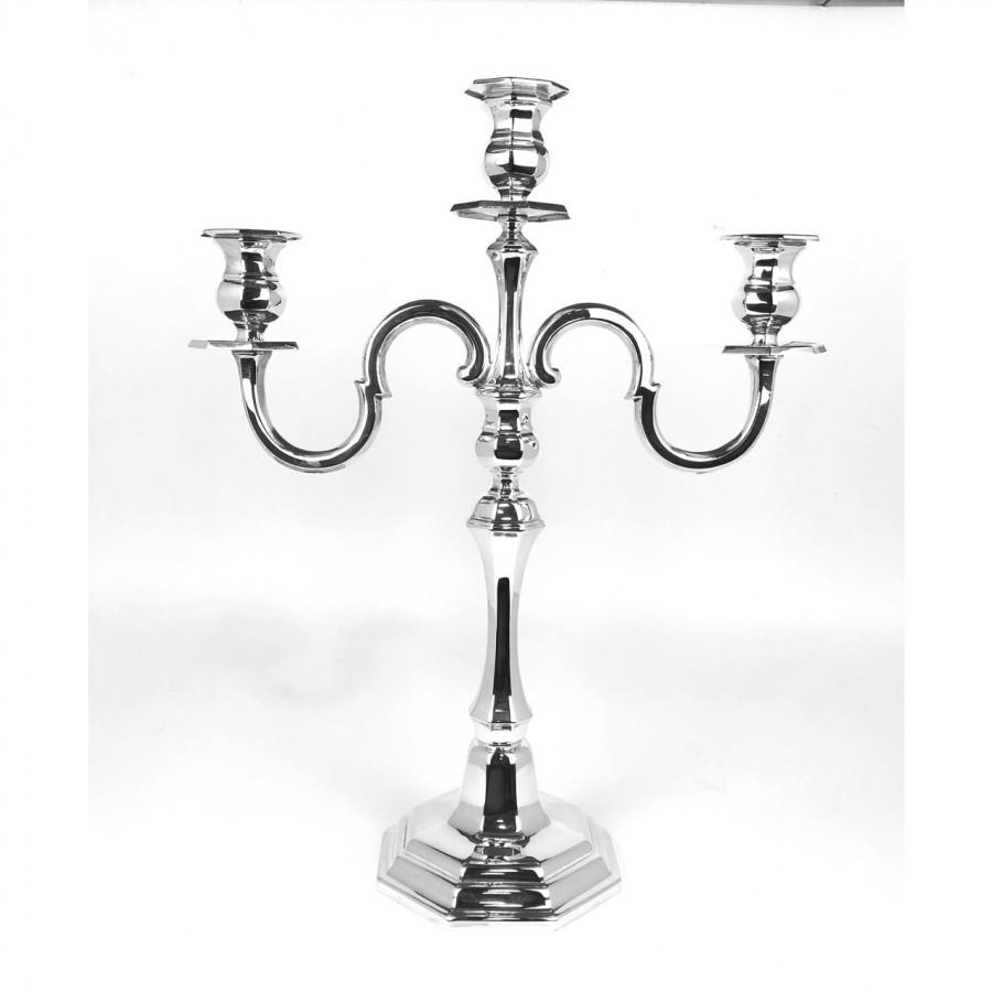 Candeliere arg.800 stile moderno, usato. Bollo PA77