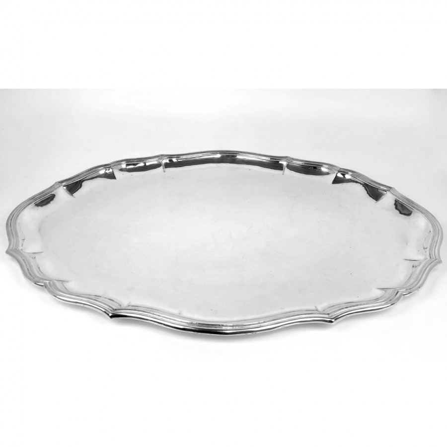 Vassoio ovale in argento 800 d'epoca bollo fascio littorio 1BS