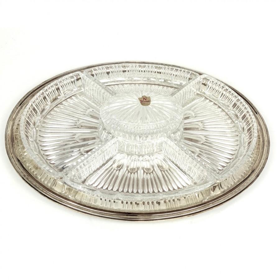Antipastiera ovale in argento '800 cristallo anni 50 Ricci-Cristalli Nachtmann Bleikristall