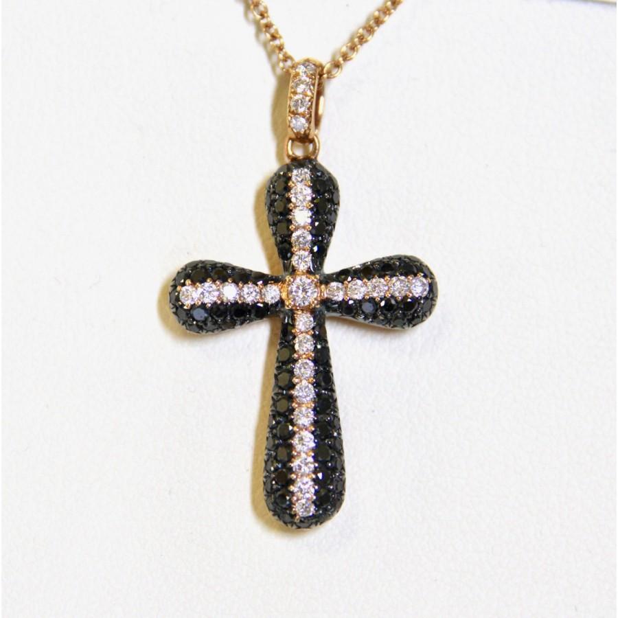 Collana oro giallo con ciondolo a croce diamanti neri e brillanti