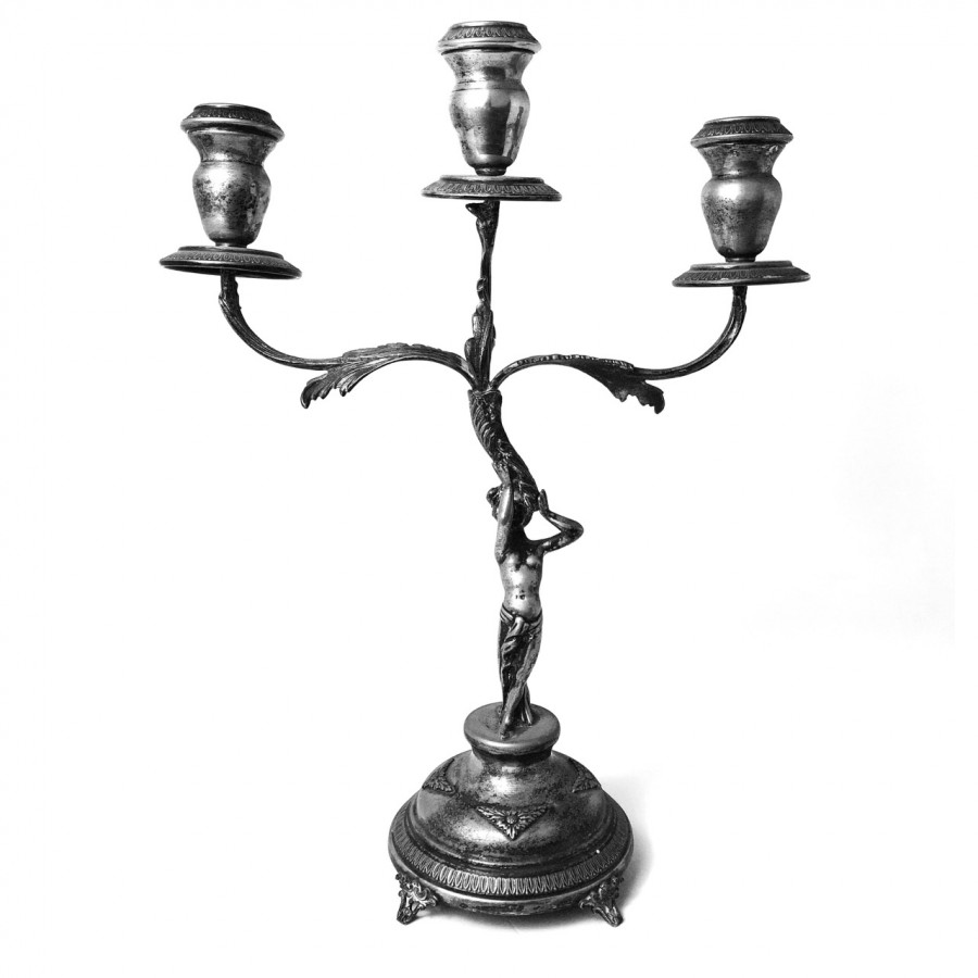 Candeliere in argento 800 a tre fuochi bollo 149AL d'epoca