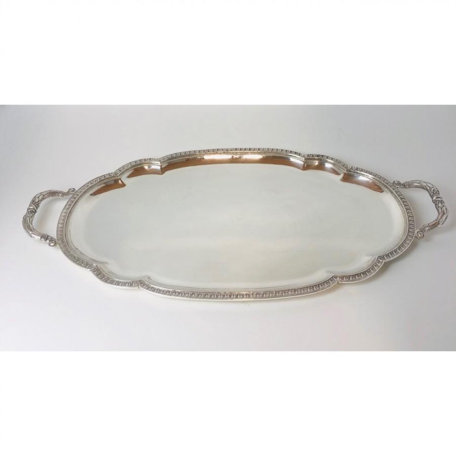 Vassoio argento 800 lavorazione battuto a mano bollo 39 PA