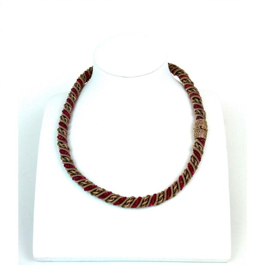 Collana in oro 9 kt con radici di rubino  usata