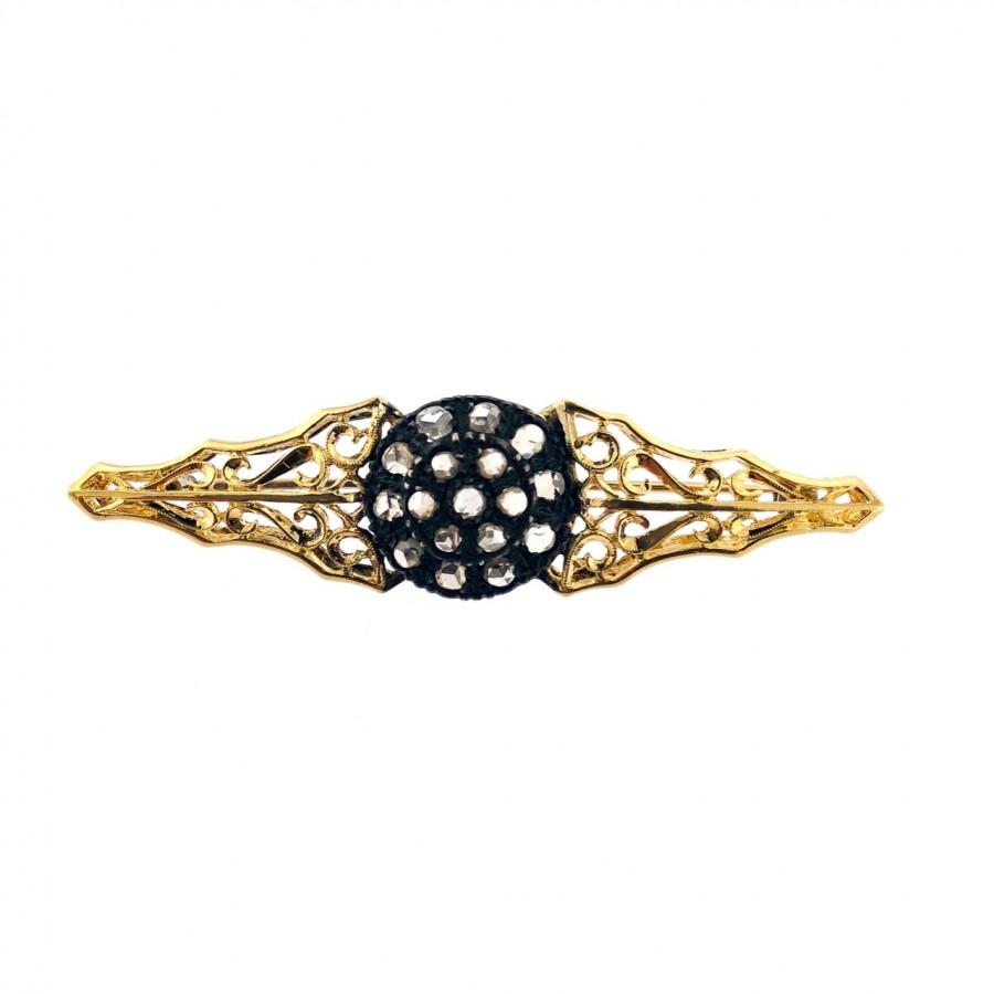 Spilla in oro 18 kt e argento 800 diamanti taglio rosette stile antico