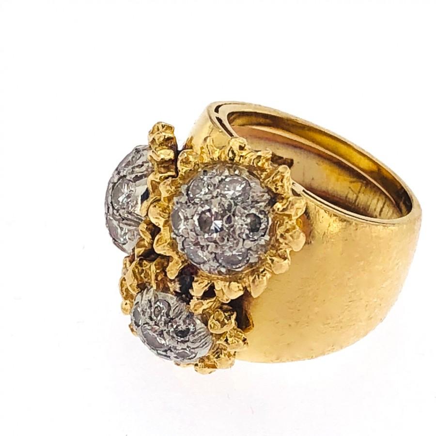 Anello in oro bicolore 18 kt con brillanti usato