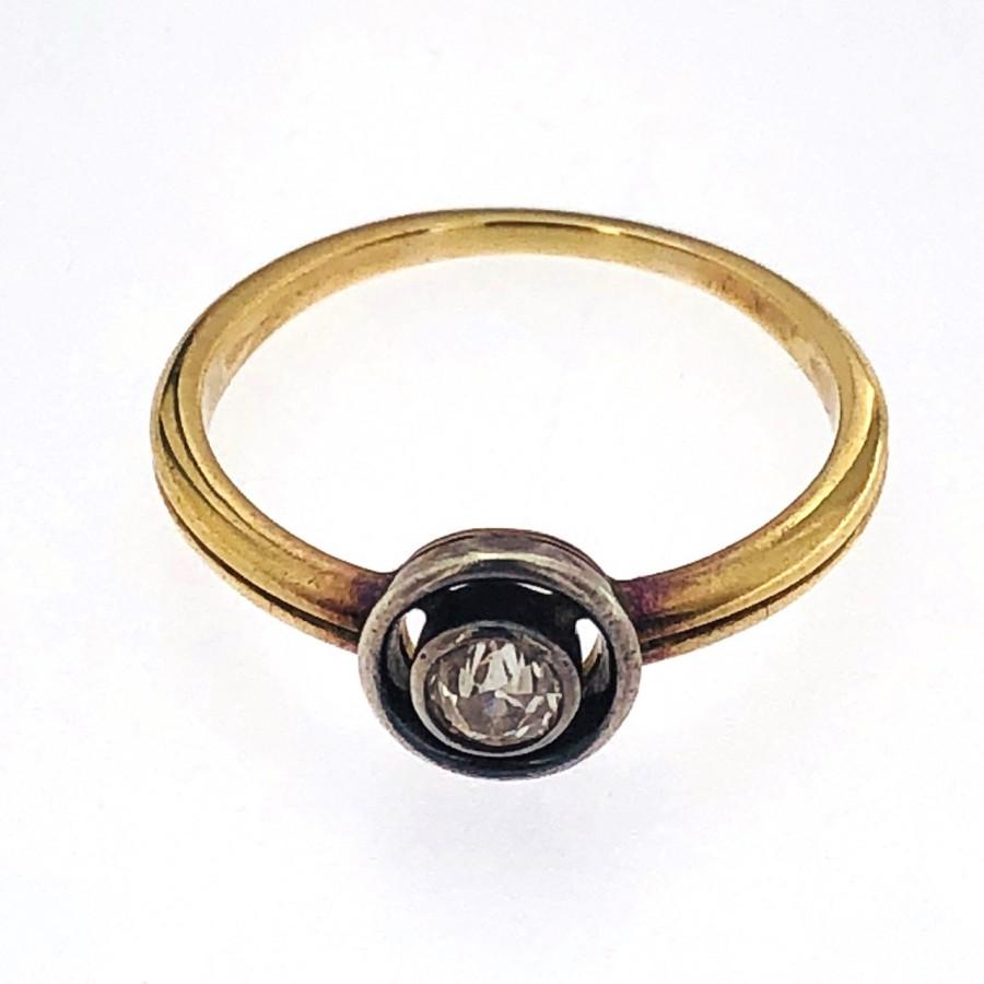 Anello stile antico oro e argento con brillante taglio antico