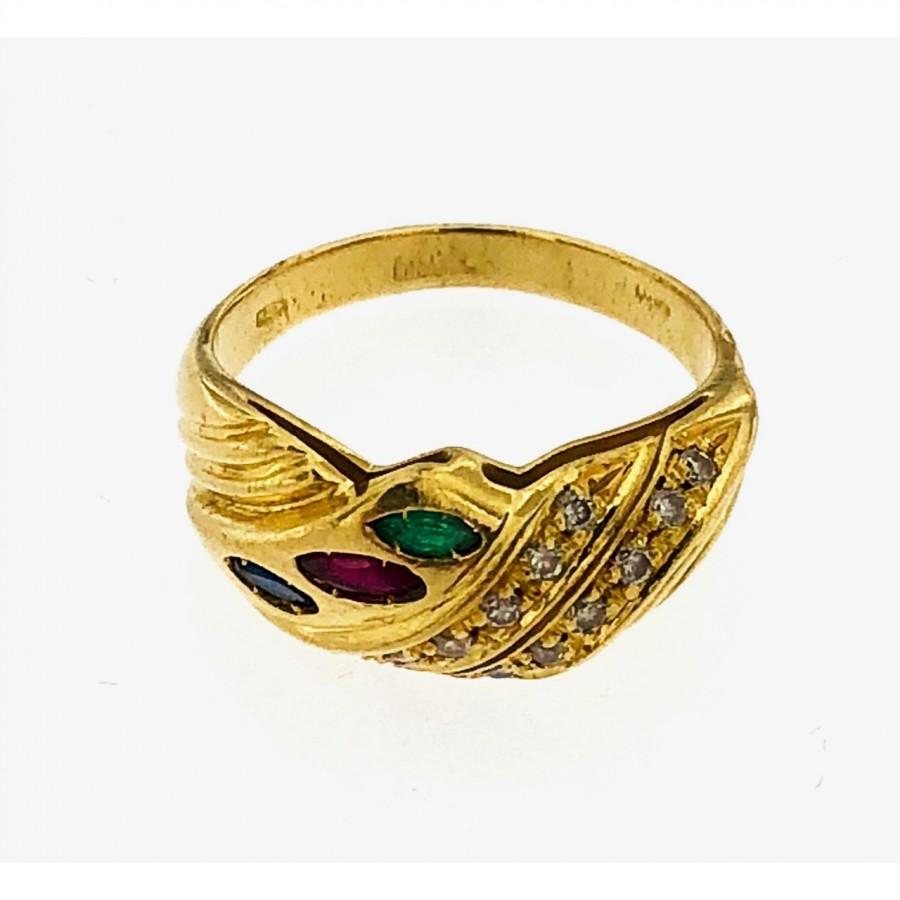 Anello oro 18 kt con brillanti a navet rubini e zaffiri e smeraldi
