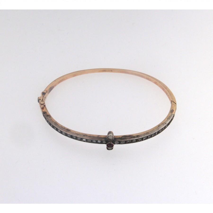 Bracciale ovale oro 12 kt. e argento con rosette e pietra rossa centrale più due diamanti