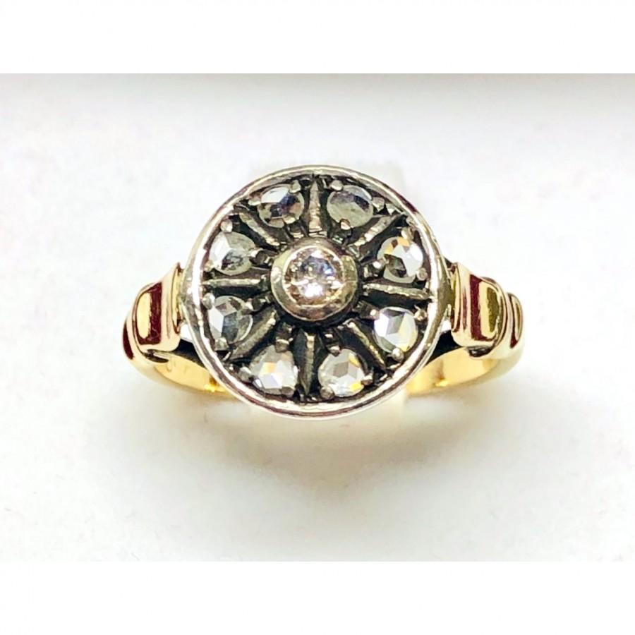 Anello in oro 18 kt e argento stile antico con diamanti