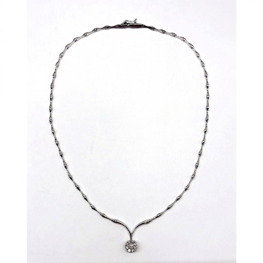 Collana oro bianco 18 kt con brillanti  usata