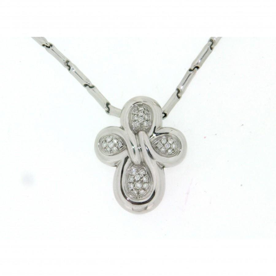 Girocollo Chimento in oro bianco18 kt croce con pavè di diamanti, taglio brillante usato