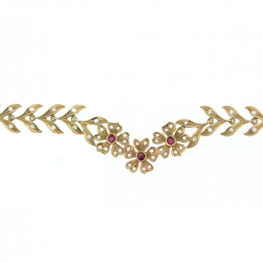 Girocollo in oro 18 kt lavorazione a cera persa artigianale con diamanti e rubini  (06)