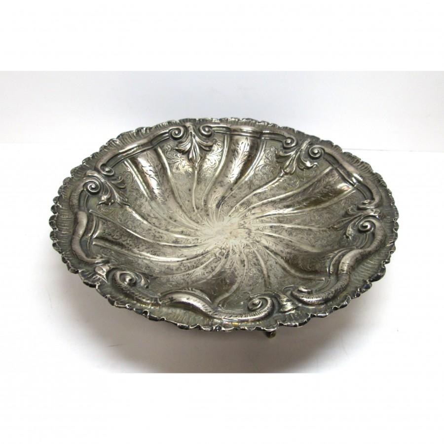 Centrotavola in argento 800 lavorato a mano a sbalzo e cesello d'epoca primi del 900