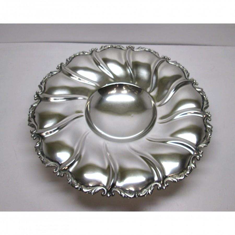 Piatto/centrotavola usato in argento 800, d'epoca, anni 50 60 usato