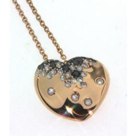 Girocollo in oro rosa 18 kt, con cuore di diamanti bianchi e neri