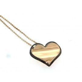Girocollo in oro rosa 18 kt, con cuore di diamanti neri