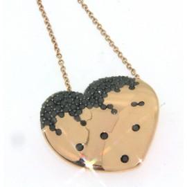 Girocollo in oro rosa 18 kt, con cuore con pavè di diamanti neri