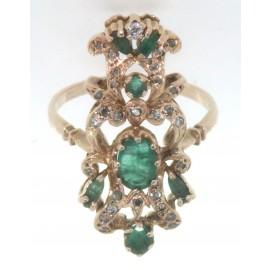 Anello in oro giallo 12 kt, in stile antico, con smeraldi e diamanti