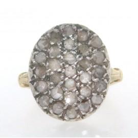 Anello in oro giallo 18 kt e argento, in stile antico, con diamanti, taglio rosetta