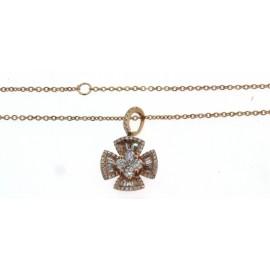Girocollo in oro rosa 18 kt, con diamanti, taglio brillante e taglio trapezio