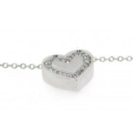 Girocollo in oro bianco 18 kt, con ciondolino a  cuore con diamanti