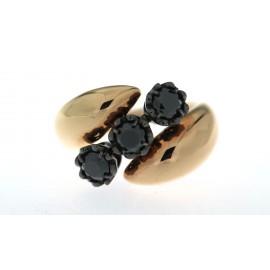 Anello trilogy, linea di gioielli Ice Diamond, in oro rosa 18 kt con diamanti neri