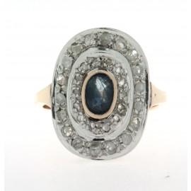 Anello in oro 12 kt, in stile anni '30/'40, con diamanti e uno zaffiro
